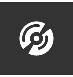 Disk logo icon on black background vector