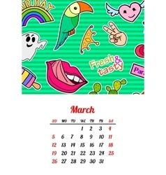 Calendar 2017 in cartoon 80s-90s comic style vector