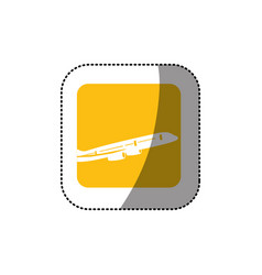 sticker color square button with contour airplane vector image