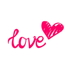 Pink love sign with heart isolated on white vector