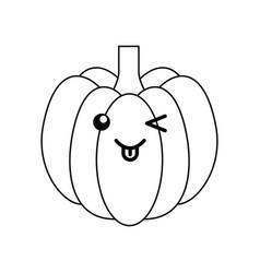 pumpkin fresh vegetable kawaii character vector image