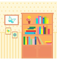 Room with bookcase vector
