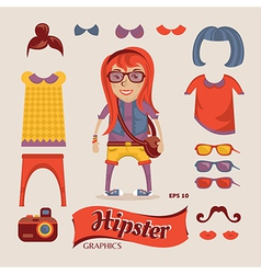 Hipster girl with hipster vector