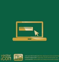 Laptop with symbol web arrow vector