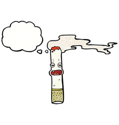 Cartoon cigarette character with thought bubble vector