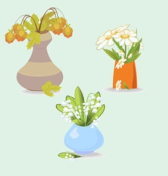 A vase with three flowers lilies daisies leaves vector