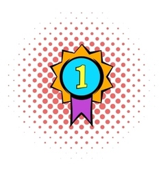 First place medal icon comics style vector image
