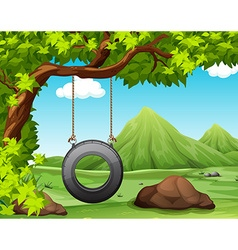 Nature scene with swing in the park vector