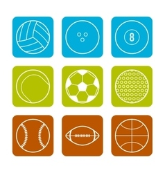 Flat icons sports balls on a colored background vector