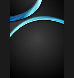 abstract blue and black wavy flyer design vector image vector image