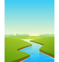 Cartoon river landscape vector