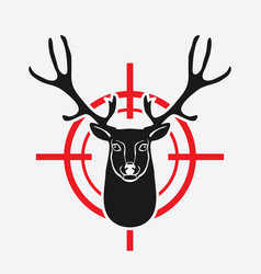deer head on red target vector image vector image