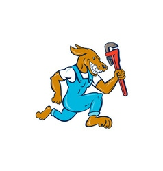Dog plumber running monkey wrench cartoon vector