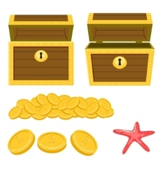 Dower chest isolated cartoon icons and pile of vector