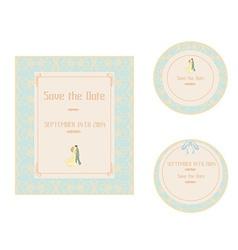 Elegant wedding invitation set vector