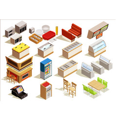 Fast food furniture set vector