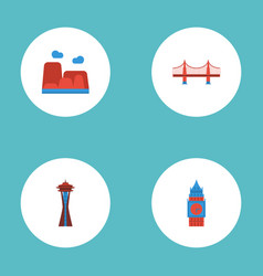 Flat icons seattle bridge drought and other vector