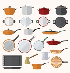 Flat various tableware set vector