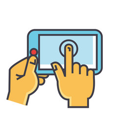 hands touching tablet concept line icon vector image