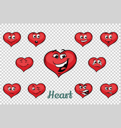 Heart valentine emotions characters collection set vector