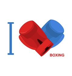 I love boxing Symbol of heart of boxing gloves vector image