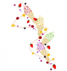 ice cream berries and fruits vector image