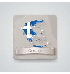 Icon of greece map with flag vector