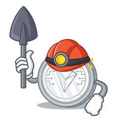 Miner tron coin character cartoon vector
