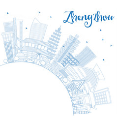 outline zhengzhou china city skyline with blue vector image vector image
