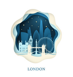 paper art of london origami concept night city vector image