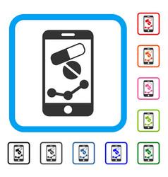 Pharmacy online report framed icon vector