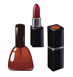 red nail polish and red lipstick isolated vector image