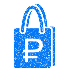 Rouble shopping grunge icon vector