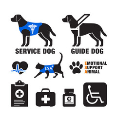 Service dogs and emotional support animals emblems vector