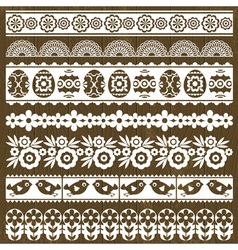 Set of Lace Paper with flower and easter eggs vector image