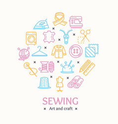 sewing and needlework tools color round design vector image vector image