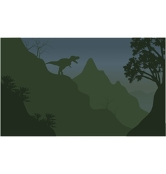 Silhouette of tyrannosaurus in cliff vector