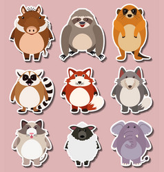 sticker design for wild animals vector image