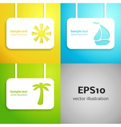 Sun sail boat and palm tree applique background vector