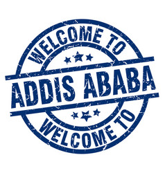 welcome to addis ababa blue stamp vector image vector image