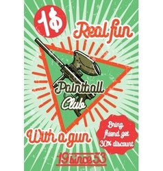 Color vintage paintball poster vector