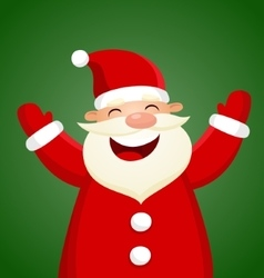 Cartoon santa claus on green background vector