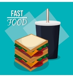 Sandwich taco fries and fast food design vector