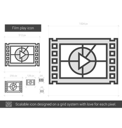 Film play line icon vector