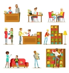 People Talking And Reading Books In Library Set Of vector image