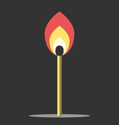 Burning match in darkness vector