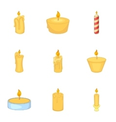 Burning candles icons set cartoon style vector
