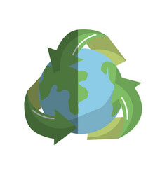 earth planet inside of recycling symbol vector image
