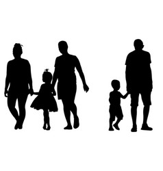 Silhouettes of parents holding kids hands vector