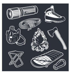 Set of camping equipments vector